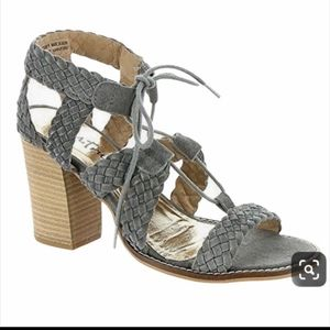 Diba Braided Leather Suede Tradin Up Ash Sandals
